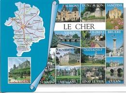 CARTES GÉOGRAPHIQUES - 18 - LE CHER - 14 PETITES VUES - CPM - VIERGE - - Maps