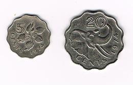 //  SWAZILAND 5 En 20 CENTS 1974 - Swaziland