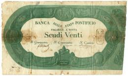 20 SCUDI BANCA DELLO STATO PONTIFICIO 1853 MB+ - Altri