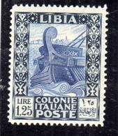 LIBIA 1931 PITTORICA SENZA FILIGRANA UNWATERMARK LIRE 1,25 MLH BEN CENTRATO - Libya