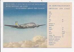 CPSM AVIATION SWEDISH AIR LINES Med Aba I Solsken Ovan Molden In Sunshine Above The Clouds - 1946-....: Era Moderna