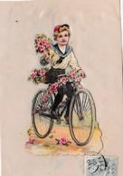 CELLULOIDE ,AVEC DECOUPIS ENFANT A VELO,FLEURS REF 60375 - Cartoline