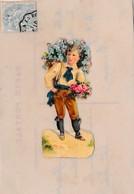 CELLULOIDE ,AVEC DECOUPIS ENFANT AVEC FLEUR REF 60376 - Cartoline