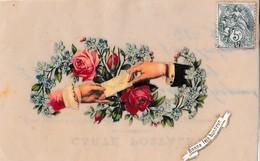 CELLULOIDE ,AVEC DECOUPIS MAINS AVEC FLEUR,BONNE FETE BONHEUR REF 60377 - Cartoline