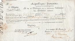 13 Brumaire An 8 - TROYES (10) Aliénation Des DOMAINES NATIONAUX - Obligation Sur La Mise à Prix - Documents Historiques
