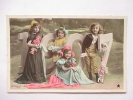 1907 -     TROIS FILLETTES  ET  UN  GARCON             PHOTO  STEBBING           TTB - Nouvel An