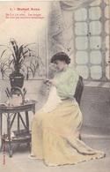 """CARTE FANTAISIE. CPA COLORISEE. COUPLE. SÉRIE COMPLÈTE DE 5 CARTES .  """" MUTUEL AVEU """".. ANNEE 1905 - Couples"""