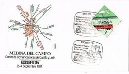 33428. Carta Exposicion MEDINA Del CAMPO (Valladolid) 1984. Exclefil 84. Ferrocarril, Comunicaciones - 1931-Hoy: 2ª República - ... Juan Carlos I