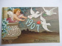 1907 -     ANGELOT ET TOURTERELLES               GAUFFREE                TTB - Nouvel An
