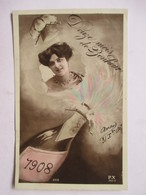 1908        FEMME  ET  CHAMPAGNE                TTB - Nouvel An