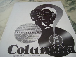 ANCIENNE PUBLICITE COLUMBIA DISQUE  1930 - Music & Instruments