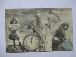 1905  HOMME A LA FAUX ,  FILLETTES  ET  HORLOGE            TTB - Nouvel An