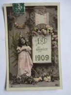 1909     FILLETTE   ET  FLEURS       TTB - Nouvel An