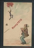 Anonyme. Superbe Illustration Peinte à La Main. Homme élégant, S'envolant Avec Des Ballons.  2 Scans. - Illustrateurs & Photographes