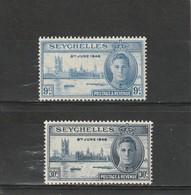 Seychelles Neuf * 1946  N° 142/143  Anniversaire De La Victoire - Seychelles (1976-...)