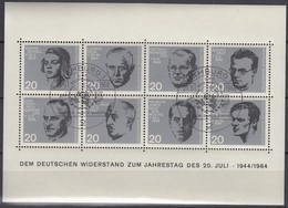 BRD  Block 3, Gestempelt, 20. Jahrestag Attentat Auf Hitler, 1964 - Blocs