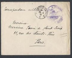 Guerre 14-18 Enveloppe Commandement D étape Dépôt D' éclopés Poste Aux Armées E (Type 3) Du 29/3/1915 Vers Paris - Postmark Collection (Covers)