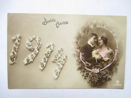 1914     JEUNE   COUPLE DANS  MEDAILLON ....            TTB - Nouvel An