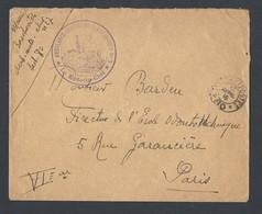 Guerre 14-18 Enveloppe Ambulance Chirurgicale 7 TAD Trésor Et Poste 80 (Gras) Du 13/4/1916 Vers Paris - WW I