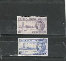 Sierra Léone Neuf * 1946  N° 172/173  Anniversaire De La Victoire - Sierra Leone (1961-...)