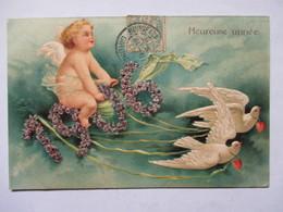 1906 -    ANGELOT  TIRE PAR DES   TOUTERELLES         GAUFFRE           TTB - Nouvel An