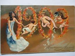 1909 -    JEUNE FEMME ET TROIS ENFANTS      GAUFFREE         TTB - Nouvel An