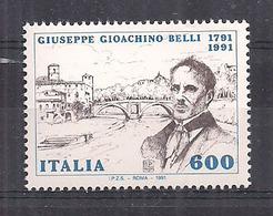 ITALIA  1991 2° CENTENARIO DELLA NASCITA DI GIOACHINO BELLI SASS. 1960 MNH XF - 6. 1946-.. Repubblica