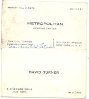 Visitekaartje - Carte Visite - Calling Card - David Turner - Metropolitan - New York - Cartes De Visite