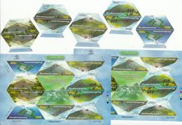 Indonesia 2003, Mountains, 2x Set Of 5v + 2x Sheetlet, MNH** - Indonésie