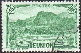 Réunion Obl. N° 165 Vue -> Salazie, Mare Aux Poules D'eau Et Piton D'Auchain 45 Cts Vert - Reunion Island (1852-1975)