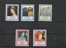 Zambie Neuf ** 1986  N°  344/348  60e Anniversaire De La Reine Elisabeth - Zambie (1965-...)