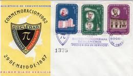 Lote 1057-9-60F, Colombia, 1962, SPD-FDC, VI Congreso Nacional De Ingenieros, PI, Engineer, Spots - Colombia