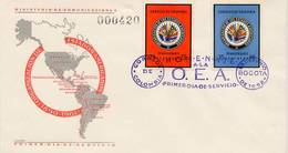 Lote 1062-3F, Colombia, 1962, SPD-FDC, OEA, America Map, Flag - Colombia