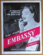 Pubblicità Advertising - Sigarette Embassy - Rifilatura Da Rivista Anni '60 - Pubblicitari