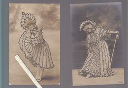 Spectacle / Artiste / Lot De 2 CP / Photo-montage Danseuse Non Identifiée / Avec Des Paillettes - Danse