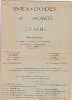 VENTE  AUX ENCHERES DE VACANCES  ,,,ORNANS,,,,1976 ,,, 12 Pages - Français