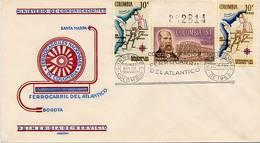 Lote 1079-81-0F, Colombia, 1962, SPD-FDC, Ferrocarril Del Atlantico, Railway, Locomotive, Bridge, Aquileo Parra - Colombia