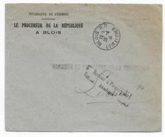 1941 - INADMIS ! - ENVELOPPE Du PROCUREUR De La REPUBLIQUE à BLOIS (LOIR ET CHER) => LOCHES Avec RETOUR - Marcophilie (Lettres)