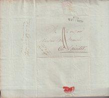 """FRANCE : MP .  """" 100 MAYENCE """" . D'UN  OFFICIER DE LA GRANDE ARMEE D'ALLEMAGNE . POUR SAINTES . 1808 . - Marcophilie (Lettres)"""