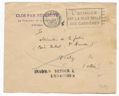 1940 - INADMIS ! - ENVELOPPE Du PROCUREUR De La REPUBLIQUE à ORLEANS (LOIRET) => VICHY Avec RETOUR - WW II