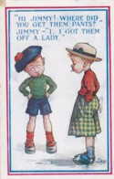 AR39 Children - Young Boy With Strange Pants, Signed Bee - Humorous Cards