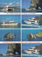 Speedboats Ships At Tiger Lilies Bay Of Islands Cape Brett 2x New Zealand Postcard - New Zealand