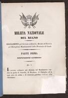 Militaria - Milizia Nazionale Del Regno Regolamento - Provincia Di Casale - 1855 - Documenti