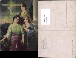 622609,Künstler Ak K. Ulrich Glaube Hoffnung U. Liebe Kreuz Herz Jesu Frauen Religion - Christentum
