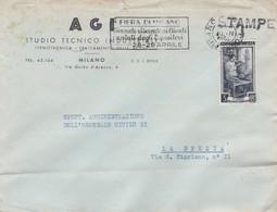 BUSTA VIAGGIATA - MILANO - A G I - STUDIO TECNICO INDUSTRIALE TERMOTECNICA -VIAGGIATA PER LA SPEZIA - 6. 1946-.. Repubblica