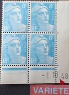 R1591//159 - 1948 - TYPE MARIANNE DE GANDON - BLOC N°810 TIMBRES NEUFS** Daté Avec Chiffres Décalés - 1940-1949