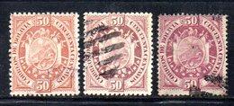 APR1819 - BOLIVIA 1894 , 50 Cent Yvert N. 44 : Tre Nuance Usate - Bolivia