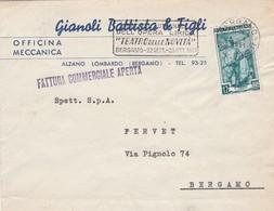 BUSTA VIAGGIATA - ALZANO LOMBARDO - OFFICINA MECCANICA, GIANOLI BATTISTA -VIAGGIATA PER BERGAMO - 6. 1946-.. Repubblica
