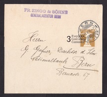 Switzerland: Stationery Wrapper, 1915, Value Overprint, Cancel Bern (damaged: Fold) - Brieven En Documenten
