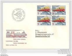 80 - 21 - Enveloppe Avec Bloc De 4 Timbres TEE Et Oblit Spéciale De Zürich 1962 - Marcofilia